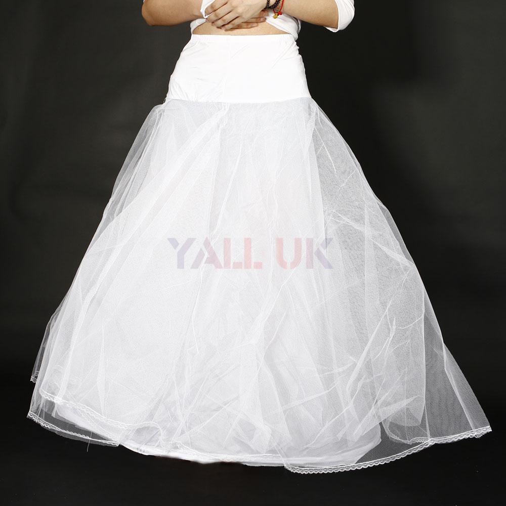 New 1 Hoop 3 Layer A Line Bride Wedding Gown Dress Underskirt Petticoat White UK